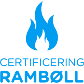 Logo med blå flamme for brandcertificering